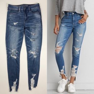 AEO Denim X Hi-Rise Shredder Jegging in Indigo